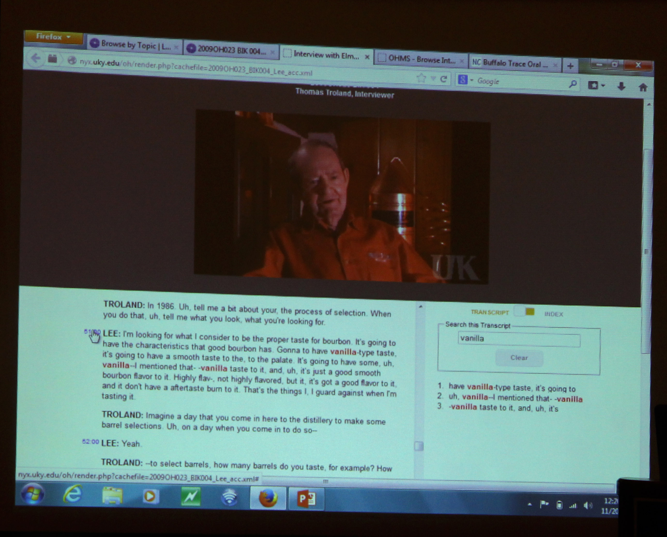 Oral history video and transcript from the Buffalo Trace Oral History project.